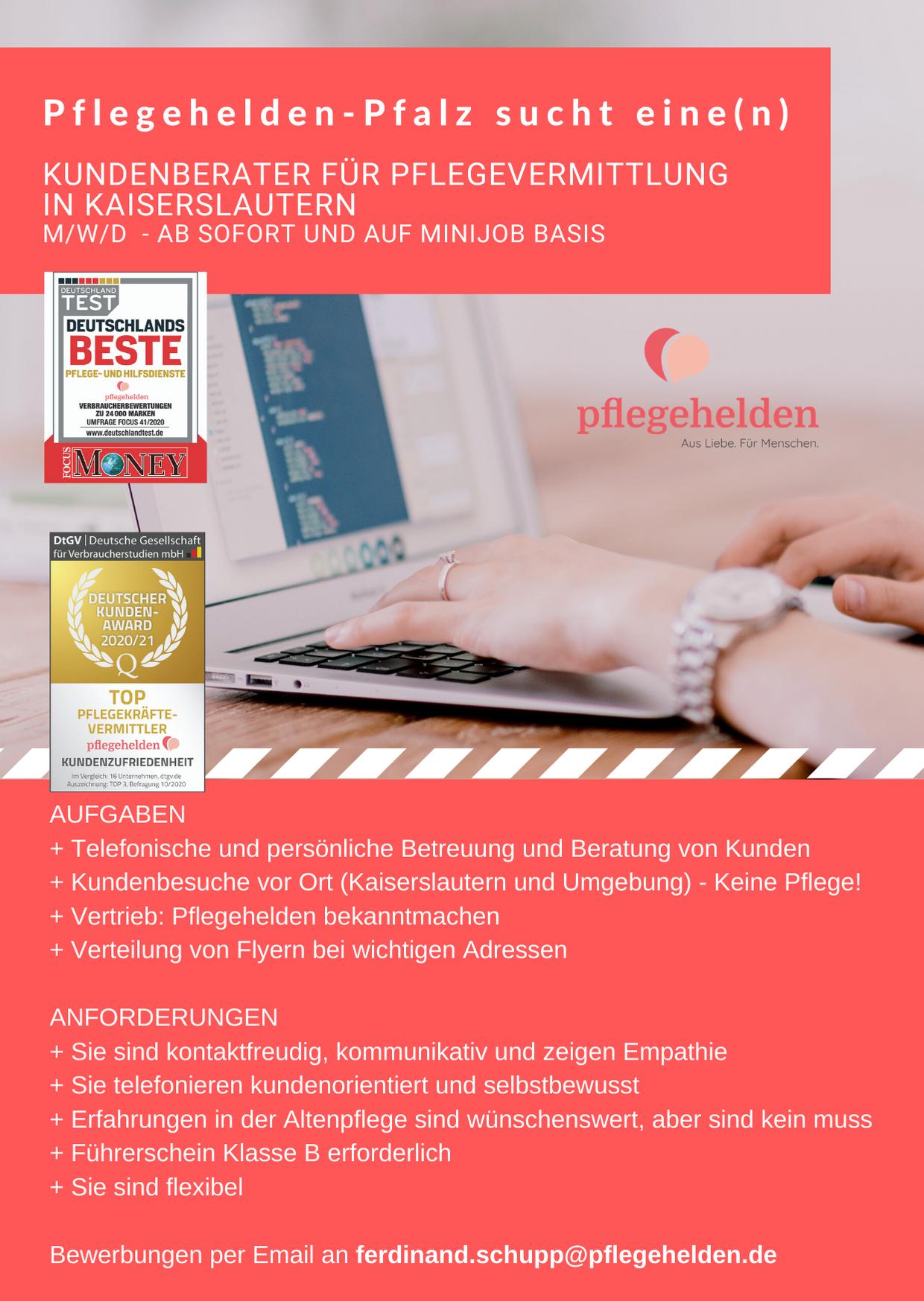 Stellenangebot Pflegehelden Pfalz