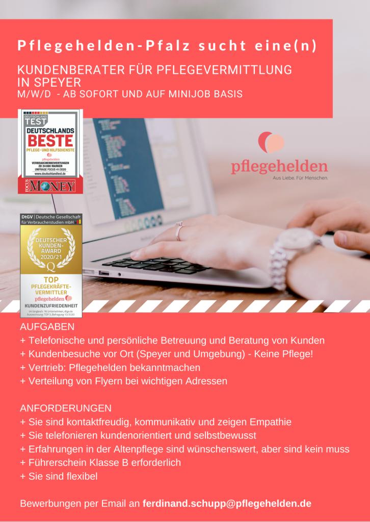 Stellenanzeige Kundenberater Pflegehelden Pfalz